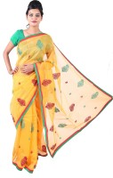 Fab Rajasthan Embroidered Fashion Handloom Net Saree(Yellow)