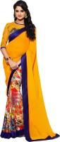 Rozdeal Printed Fashion Georgette Saree(Blue, Orange)