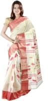 Hawai Embellished Tant Handloom Cotton Saree(White, Red)