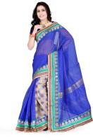 Indi Wardrobe Printed Banarasi Handloom Banarasi Silk Saree(Blue)