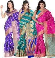 Its Banii Woven Banarasi Handloom Banarasi Silk Saree(Pack of 3, Blue, Green, Pink)