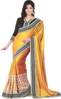 Welcome Fashion Embroidered Bollywood Handloom Synthetic Crepe Saree(Gold)