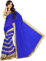 Welcome Fashion Self Design Bollywood Handloom Georgette Saree(Blue, White)