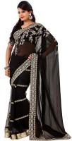 Rajshri Fashions Self Design Fashion Net Saree(Black)