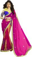 Admyrin Solid Fashion Chiffon, Crepe Saree(Pink)