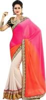 Florence Embroidered Fashion Chiffon Saree(Orange, Beige)