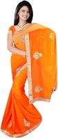 Softdeal Embroidered Daily Wear Chiffon Saree(Orange)