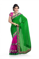 Chirag Sarees Solid Fashion Chiffon Saree(Green, Pink)