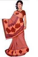 Khoobee Self Design, Printed Fashion Poly Georgette Saree(Orange)