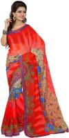 Patankar Fab Printed Bollywood Synthetic Chiffon Saree(Red)