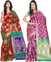 Indi Wardrobe Woven Banarasi Handloom Banarasi Silk Saree(Pack of 2, Red, Pink)
