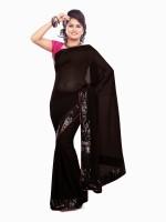 Dancing Girl Solid Bollywood Georgette Saree(Black)