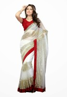 Dancing Girl Solid Bollywood Net Saree(White)