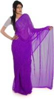 Aaradhya Fashion Printed Leheria Handloom Georgette Saree(Purple)