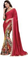 Jiya Self Design, Printed Fashion Cotton Blend Saree(Multicolor, Red)