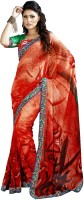 Khoobee Printed Fashion Poly Georgette Saree(Multicolor, Red)