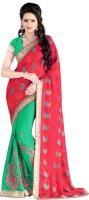 Jiya Self Design, Embroidered, Embellished Fashion Cotton Blend, Poly Georgette Saree(Pink, Light Green)