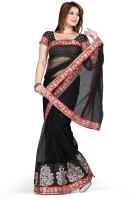 De Marca Printed Fashion Net Saree(Black, Red)