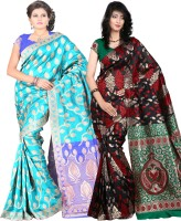 Its Banii Woven Banarasi Handloom Banarasi Silk Saree(Pack of 2, Blue, Black)