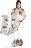 De Marca Printed Fashion Chiffon Saree(White, Brown)