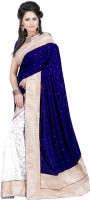 Ansu Fashion Floral Print Fashion Brasso Saree(Blue)