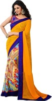 Rozdeal Printed Fashion Georgette Saree(Yellow, Blue)