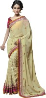 Saara Self Design Fashion Net Saree(Yellow)