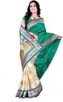 Weavedeal Embellished, Self Design Banarasi Banarasi Silk, Brocade Saree(Green)