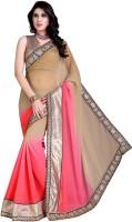 Jiya Self Design, Embroidered Fashion Chiffon Saree(Pink, Beige)