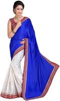 Khoobee Self Design, Embroidered Fashion Cotton Blend, Poly Georgette Saree(White, Blue)