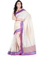 Indi Wardrobe Printed Banarasi Handloom Banarasi Silk Saree(White)