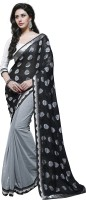 Jiya Self Design, Embroidered, Embellished Fashion Poly Georgette Saree(Black, Grey)