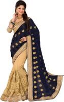 M.S.Retail Embroidered Fashion Georgette, Net Saree(Dark Blue)