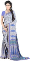 Jiya Self Design, Printed Fashion Cotton Blend, Poly Crepe Saree(Multicolor, Purple, White)