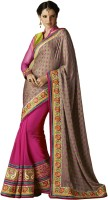 Desi Butik Self Design Fashion Crepe Saree(Brown)