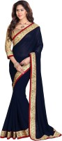 Mirchi Fashion Solid Bollywood Georgette Saree(Dark Blue)