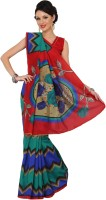 Womantra Floral Print, Geometric Print Bhagalpuri Synthetic Saree(Multicolor)