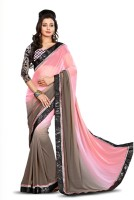 Aksh Fashion Embroidered Bollywood Pure Chiffon Saree(Pink)