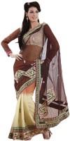 Bahubali Sarees Self Design Fashion Net Saree(Brown)
