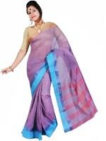 Hawai Striped Fashion Handloom Cotton Saree(Purple)