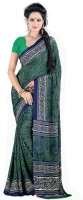 Jiya Self Design, Printed Fashion Poly Crepe, Poly Silk Saree(Multicolor, Green)