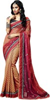 Vishal Solid Fashion Net Saree(Orange)