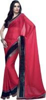 Valeska Solid Fashion Satin Blend Saree(Maroon)