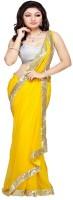 Patankar Fab Self Design Fashion Brasso Saree(Gold)