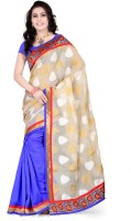 Weavedeal Embellished, Self Design Banarasi Banarasi Silk, Brocade Saree(Beige, Blue)