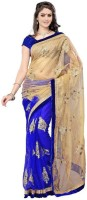 Aksh Fashion Embroidered Bollywood Handloom Net Saree(Blue)