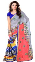 Sourbh Sarees Self Design Fashion Chiffon, Synthetic Georgette Saree(Pink, Grey)