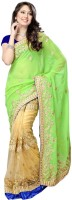 Nairiti Fashions Solid Bollywood Chiffon, Net Saree(Beige, Green)