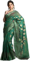 Kataan Bazaar Self Design Banarasi Polycotton Saree(Green)