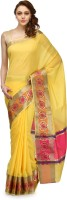 Bunkar Self Design Banarasi Cotton Saree(Gold, Multicolor)